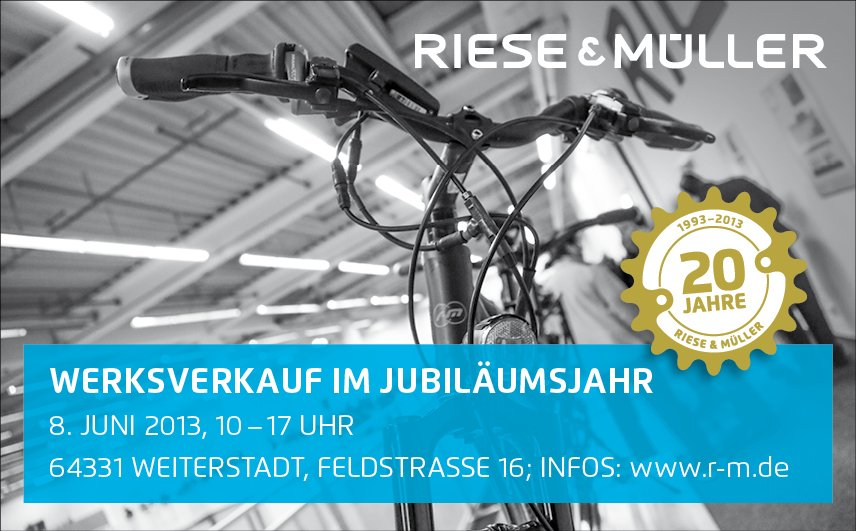 werksverkauf von riese m ller und bluelabel e bikes am 8 juni 2013 ebike. Black Bedroom Furniture Sets. Home Design Ideas