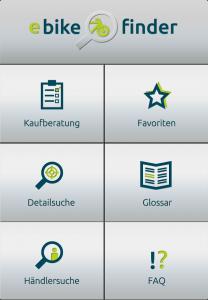 eBikeFINDER App Startseite
