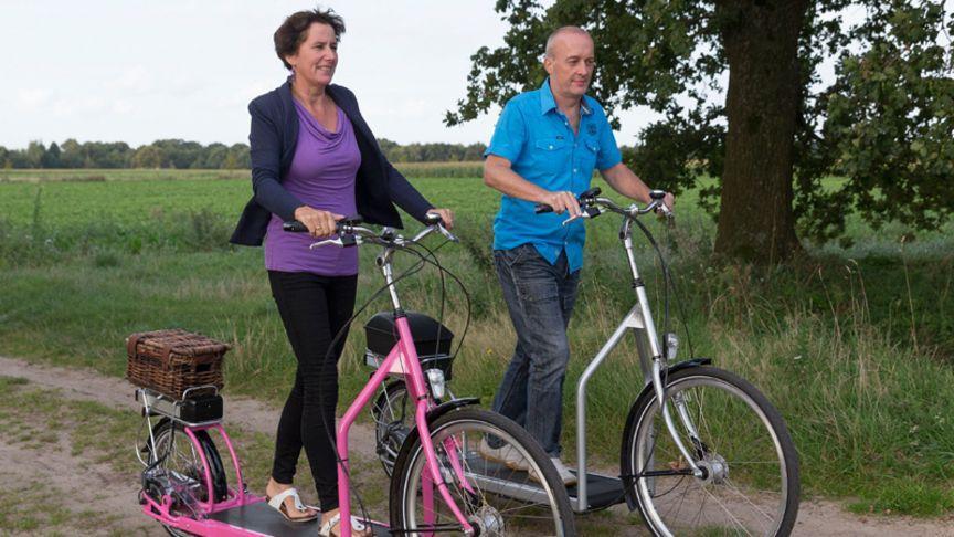 Bruin und Frau laufen sich fit