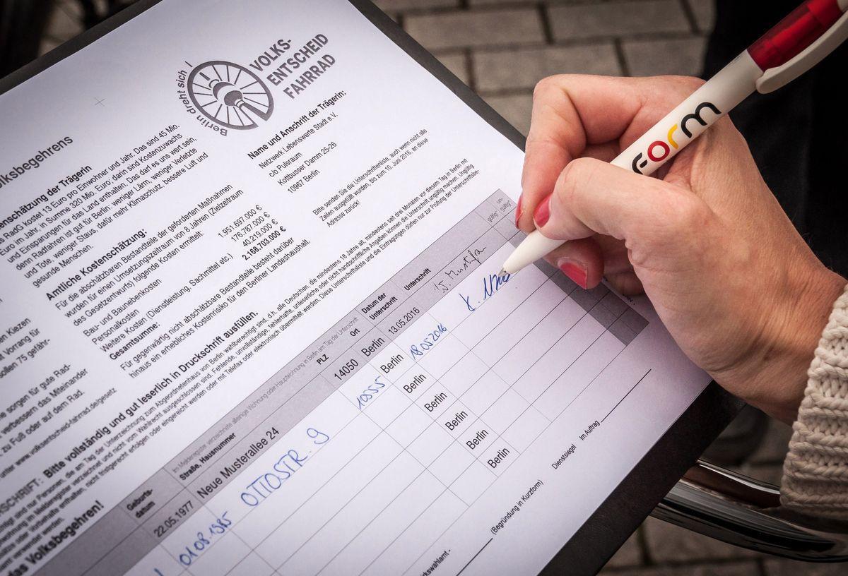 Volksentscheid Fahrrad, Unterschriften Sammelliste