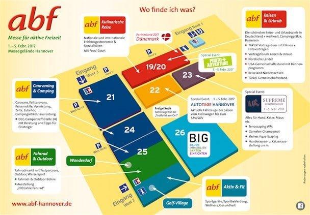Lageplan der abf Messe, darunter Fahrrad und Outdoor in Halle 25.