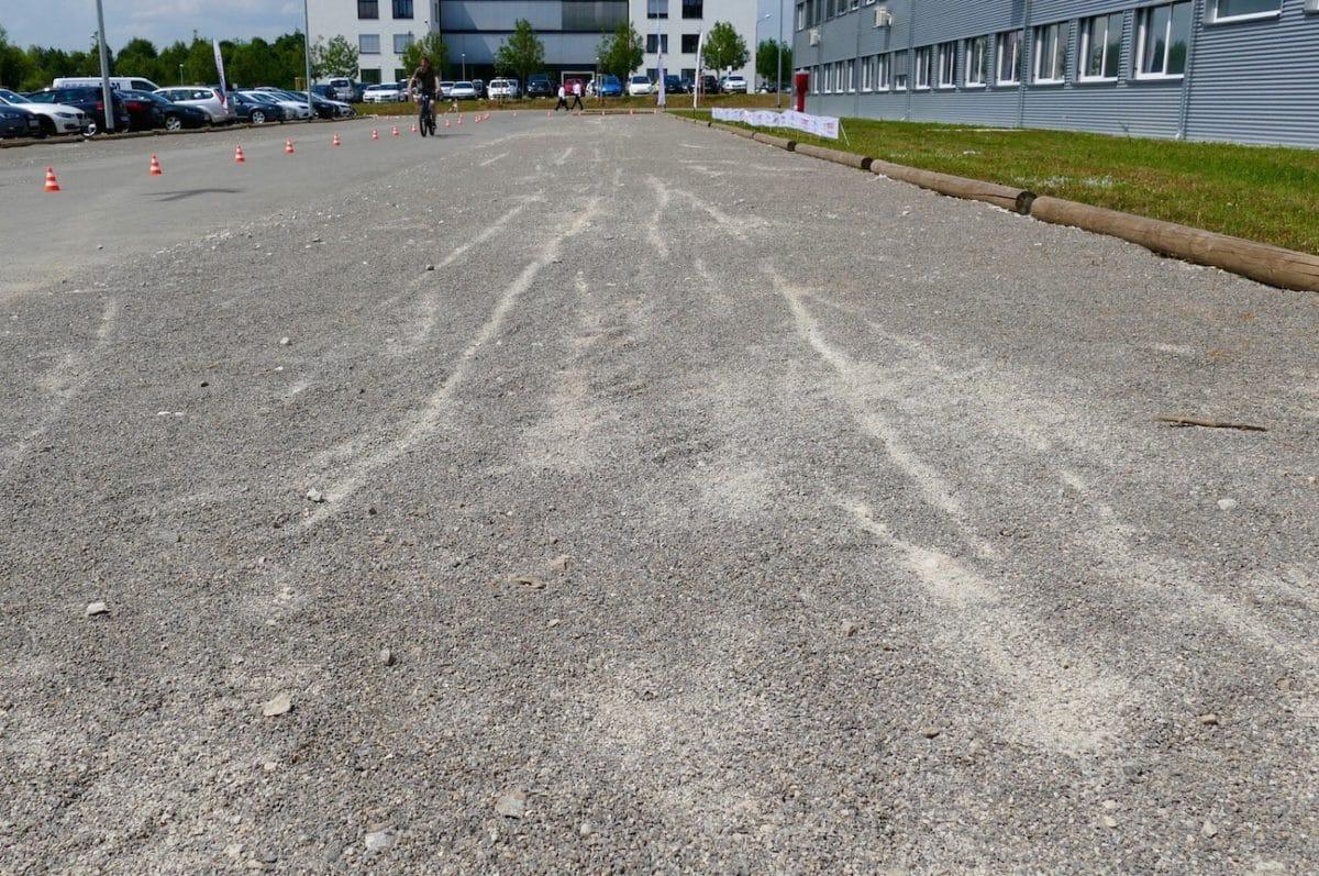 Bremsspuren vom eBike ABS Test