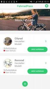 FahrradPass App Eintrag
