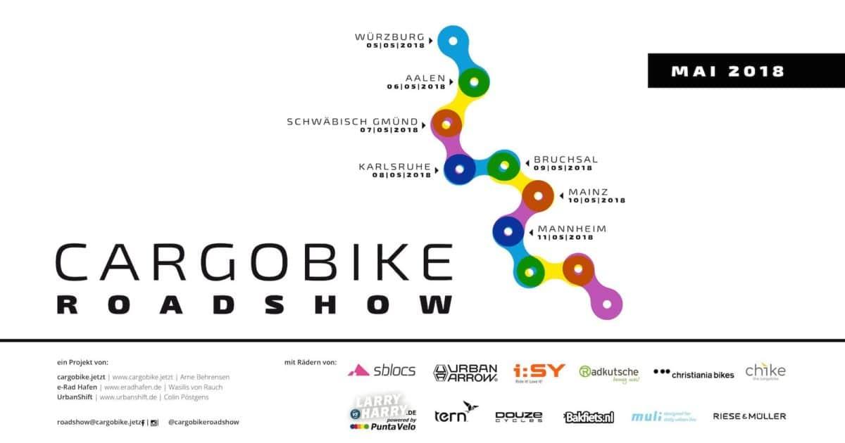 Cargobike Roadshow 2018 Logo mit Stationen und Hersteller quer