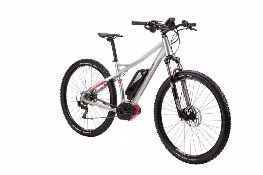 Neues eMTB Hardtail Carver Strict e.02 Lady in Brilliant Silver / Strawberry Lackierung