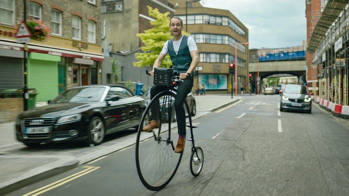 Hochrad ausgerüstet mit dem Swytch E-Bike Kit
