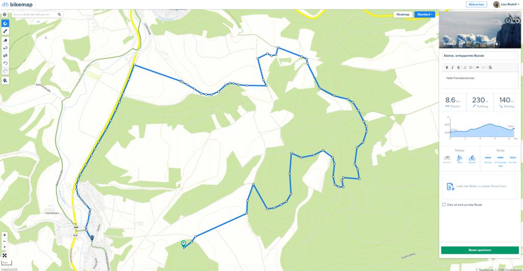 Bikemap App Streckenplanung für Fahrrad Navigation