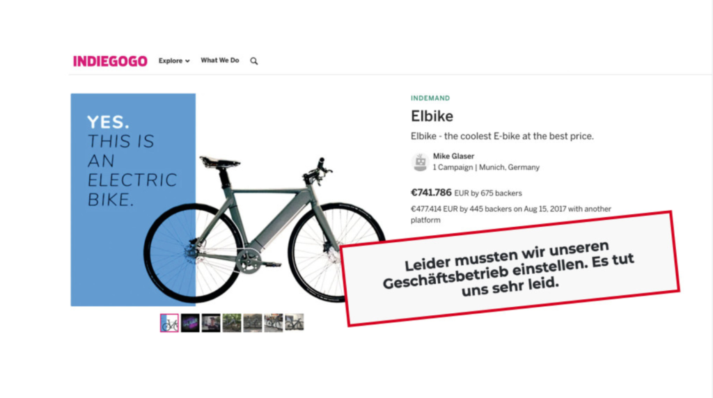 Elbike Crowdfunding ist gescheitert