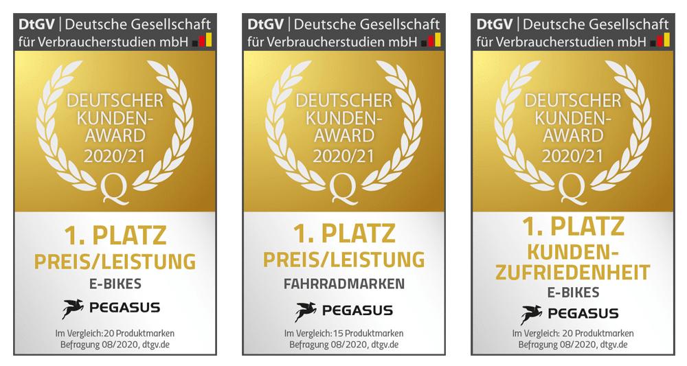 Deutscher Kunden-Award 2020/21: PEGASUS dreimal Erster